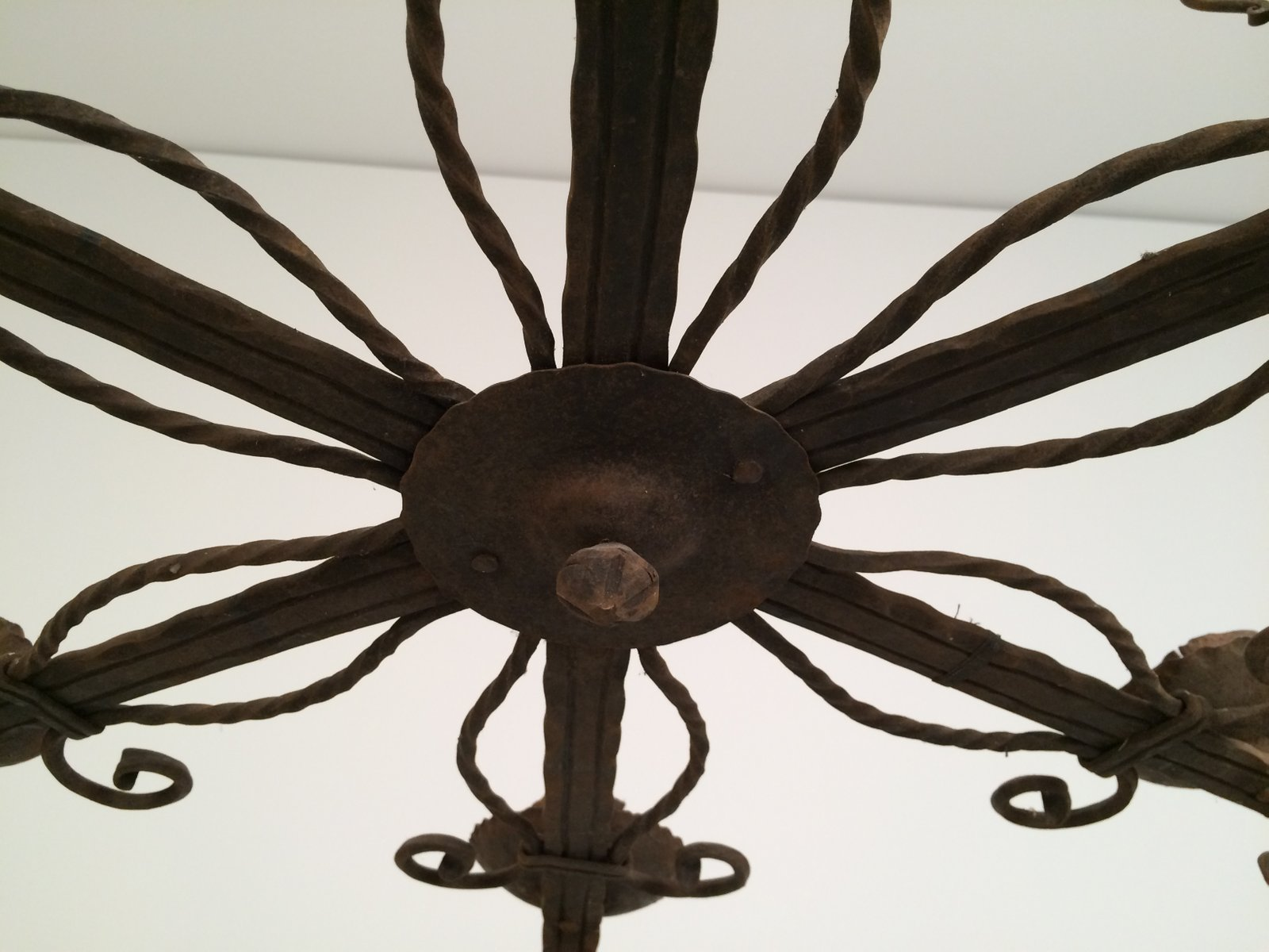 Wrought Iron Chandelier With 5 Candle Holders 1920s For Sale At Pamono