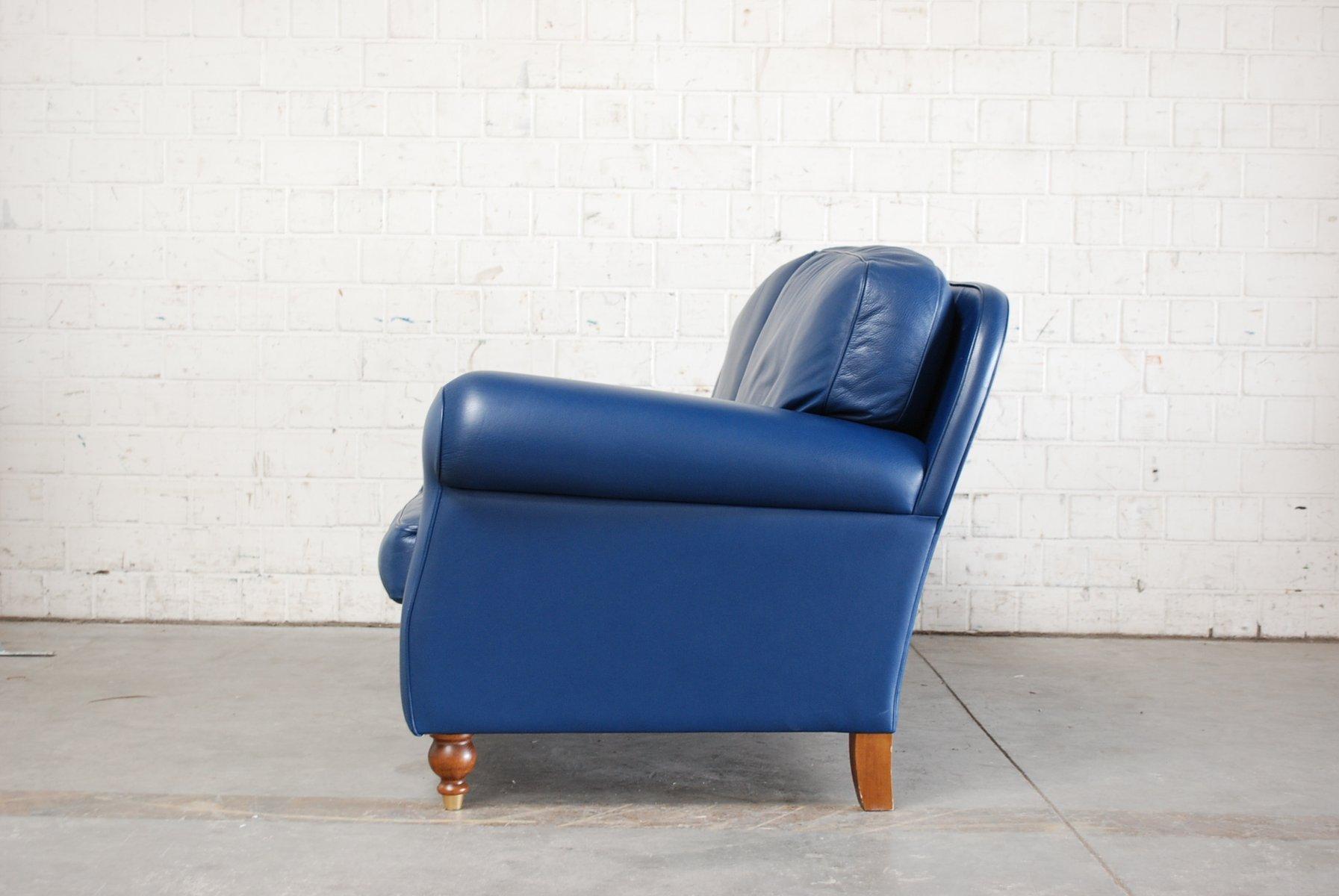 Canap george en cuir bleu de poltrona frau 1999 en vente - Canape cuir bleu ciel ...