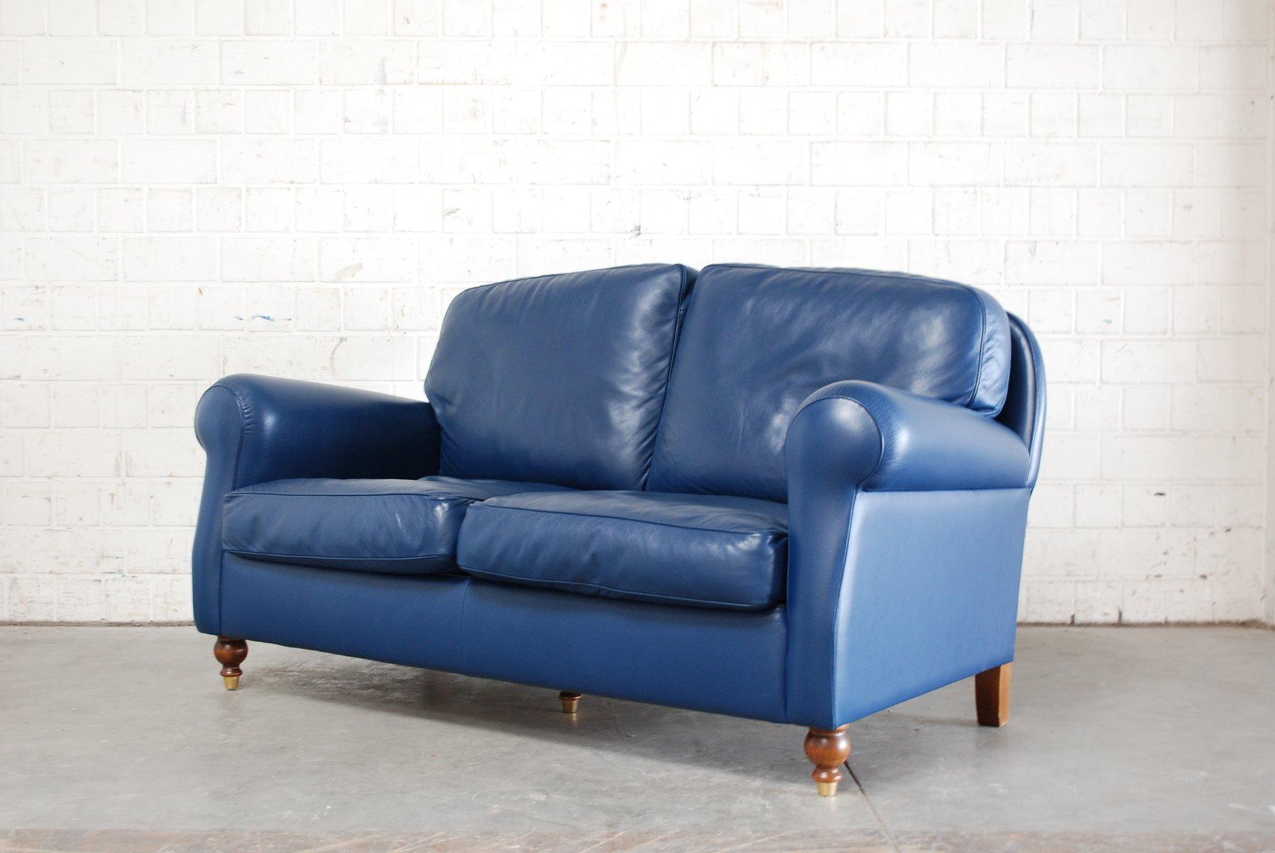 Blue Leather George Sofa From Poltrona Frau, 1999