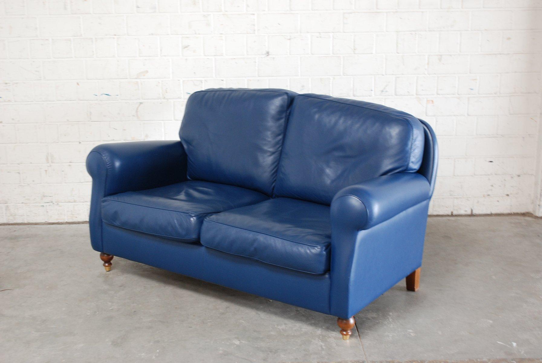 blaues george sofa aus leder von poltrona frau 1999 bei pamono kaufen. Black Bedroom Furniture Sets. Home Design Ideas