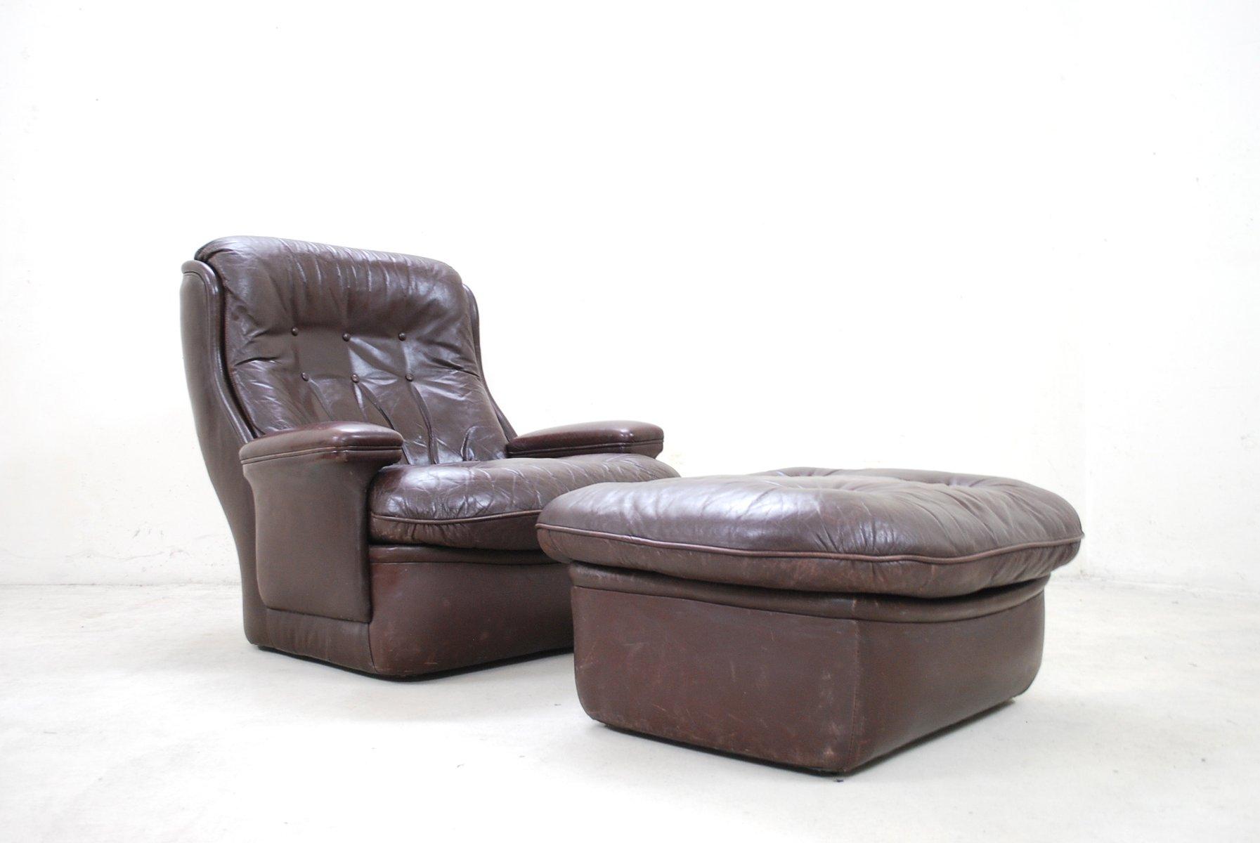 brauner vintage leder lounge stuhl und ottoman von terstappen bei pamono kaufen. Black Bedroom Furniture Sets. Home Design Ideas