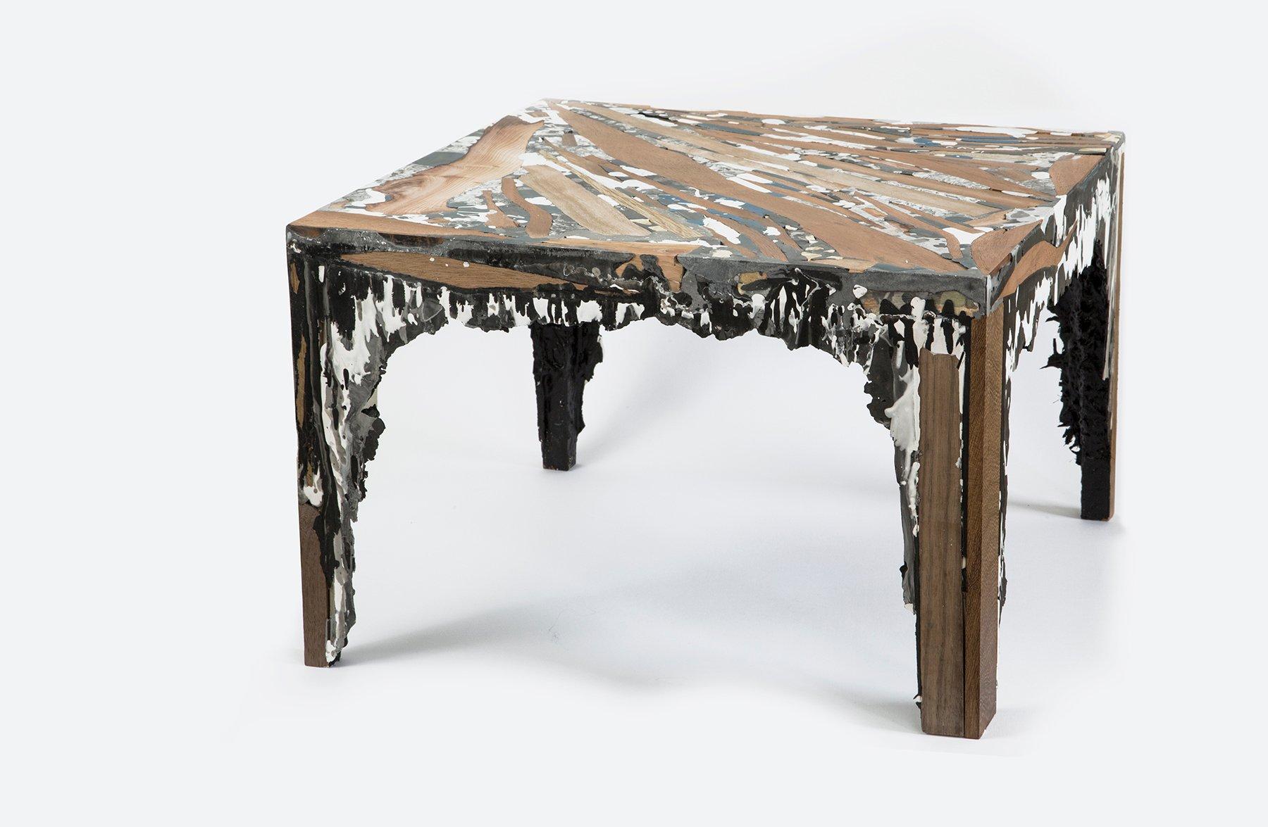quadratischer schichtgestein tisch von rive roshan bei pamono kaufen. Black Bedroom Furniture Sets. Home Design Ideas