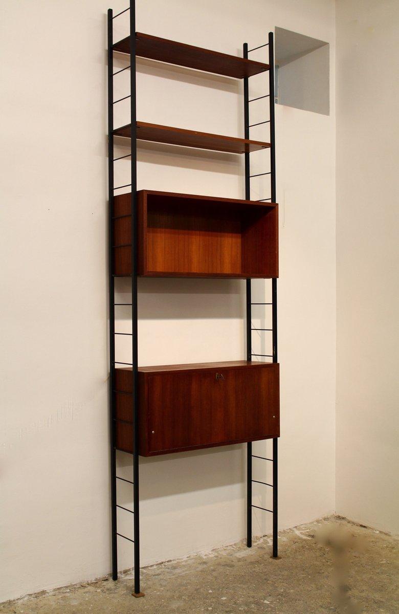 Austrian Teak Laddered Bookshelf With Writing Desk 1960s