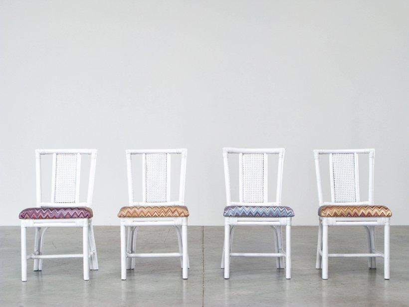 Juego de comedor de rat n blanco con cuatro sillas tapizadas con tela de missoni en venta en pamono - Comedor de cuatro sillas ...