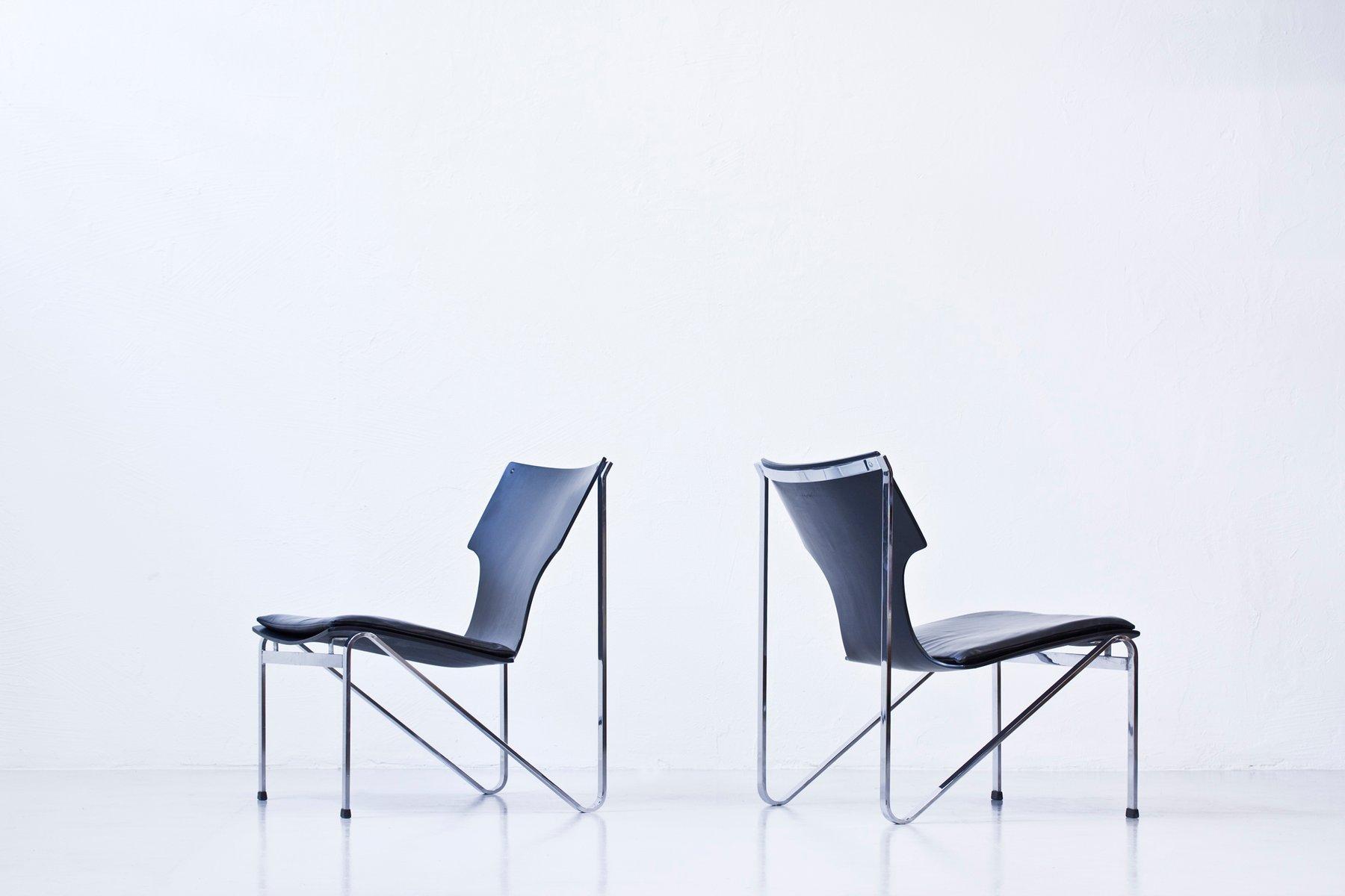 Schwedische Chrom, Holz & Leder Easy Chairs von Sigurd Persson für Åry...