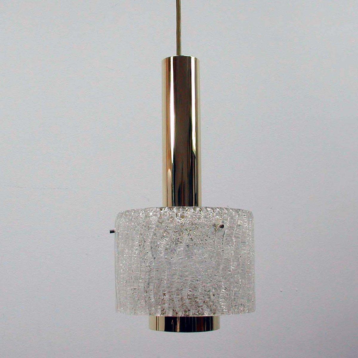 Mid-Century Eisglas & Messing Hängelampe von JT Kalmar