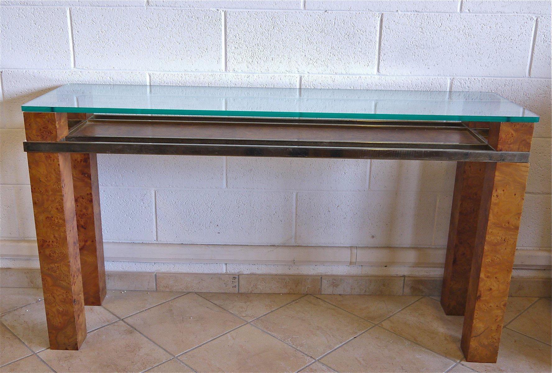 italienische konsole aus wurzelholz glas 1970er bei pamono kaufen. Black Bedroom Furniture Sets. Home Design Ideas