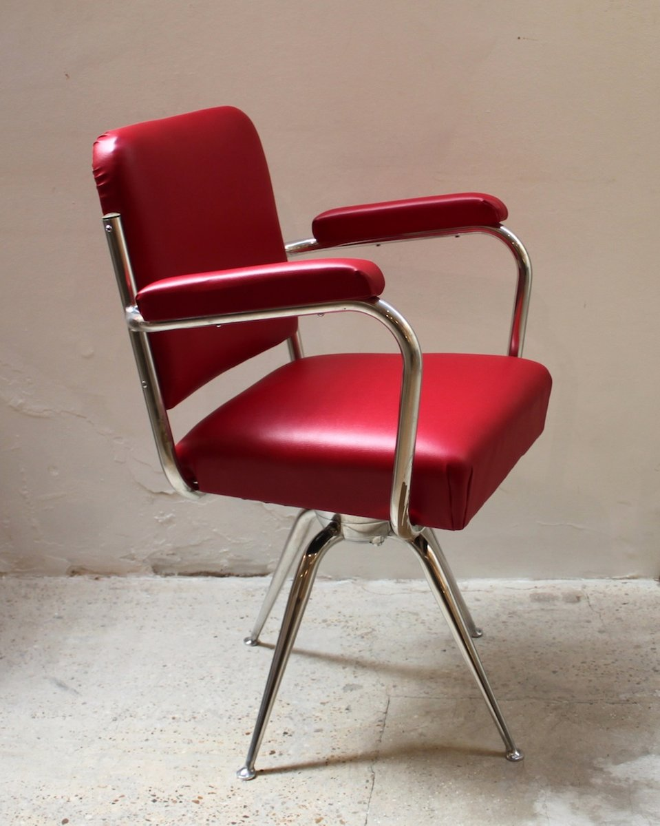 Chrome And Red Leather Desk Chair 1930s 4 3 833 00