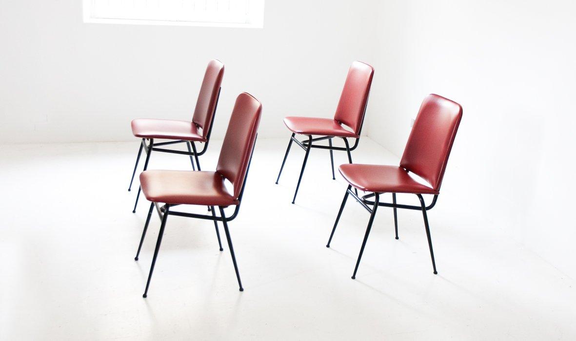 italienische eisen skai st hle 1950er 4er set bei pamono kaufen. Black Bedroom Furniture Sets. Home Design Ideas