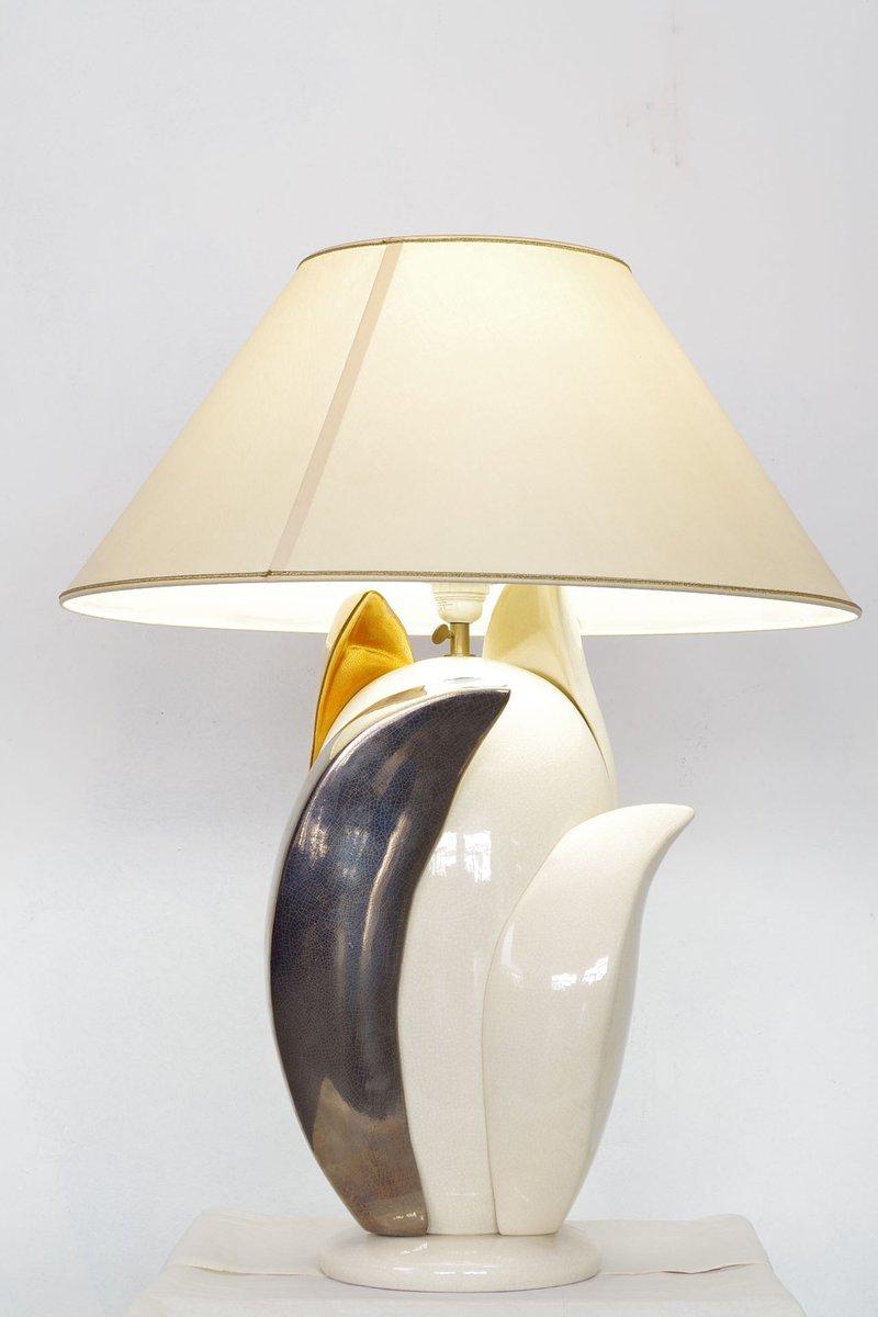 Florale Vintage Tischlampe von Francois Chatain