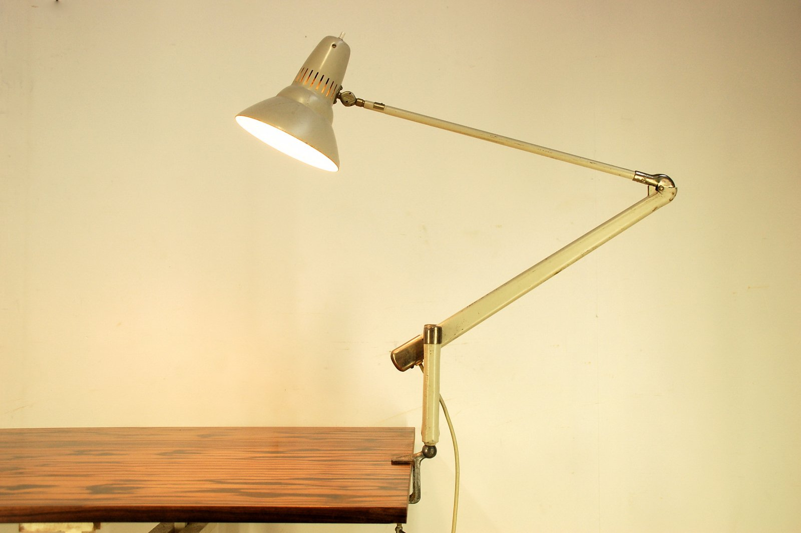 Vintage Swedish Articulating Clamp On Desk Lamp By Asea