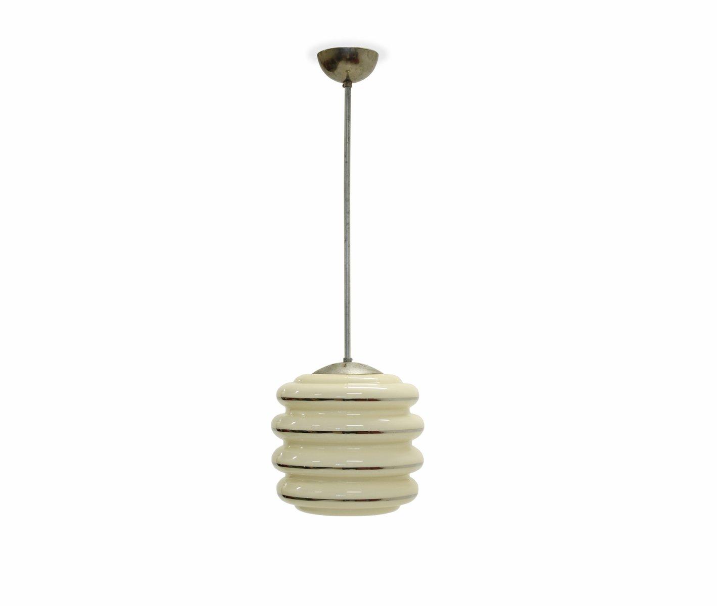 Funktionalistische Opalglas Deckenlampe, 1950er
