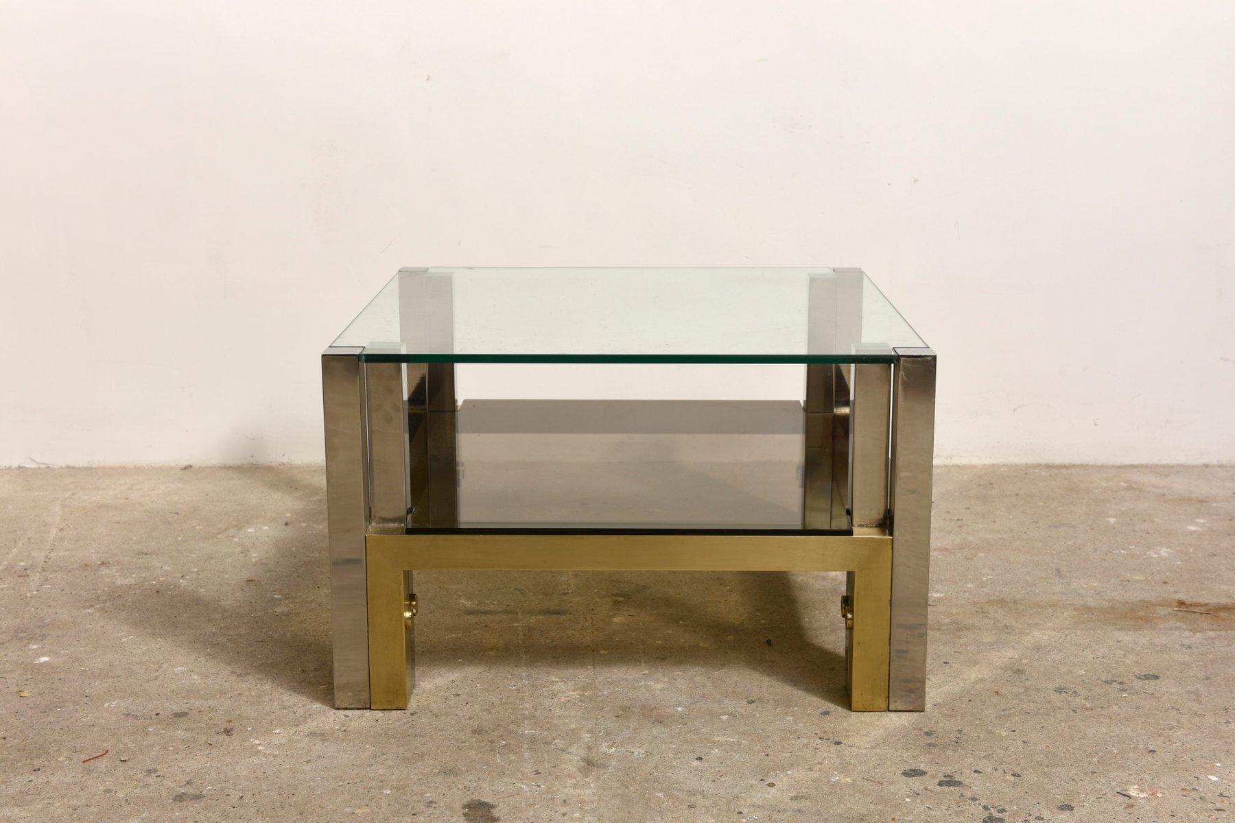 Couchtisch aus Messing mit Glasplatte und Ablage von Willy Rizzo, 1960...