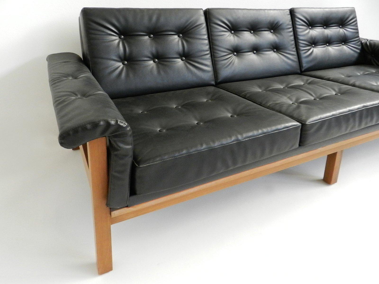 canap trois places mid century en ska noir danemark en vente sur pamono. Black Bedroom Furniture Sets. Home Design Ideas