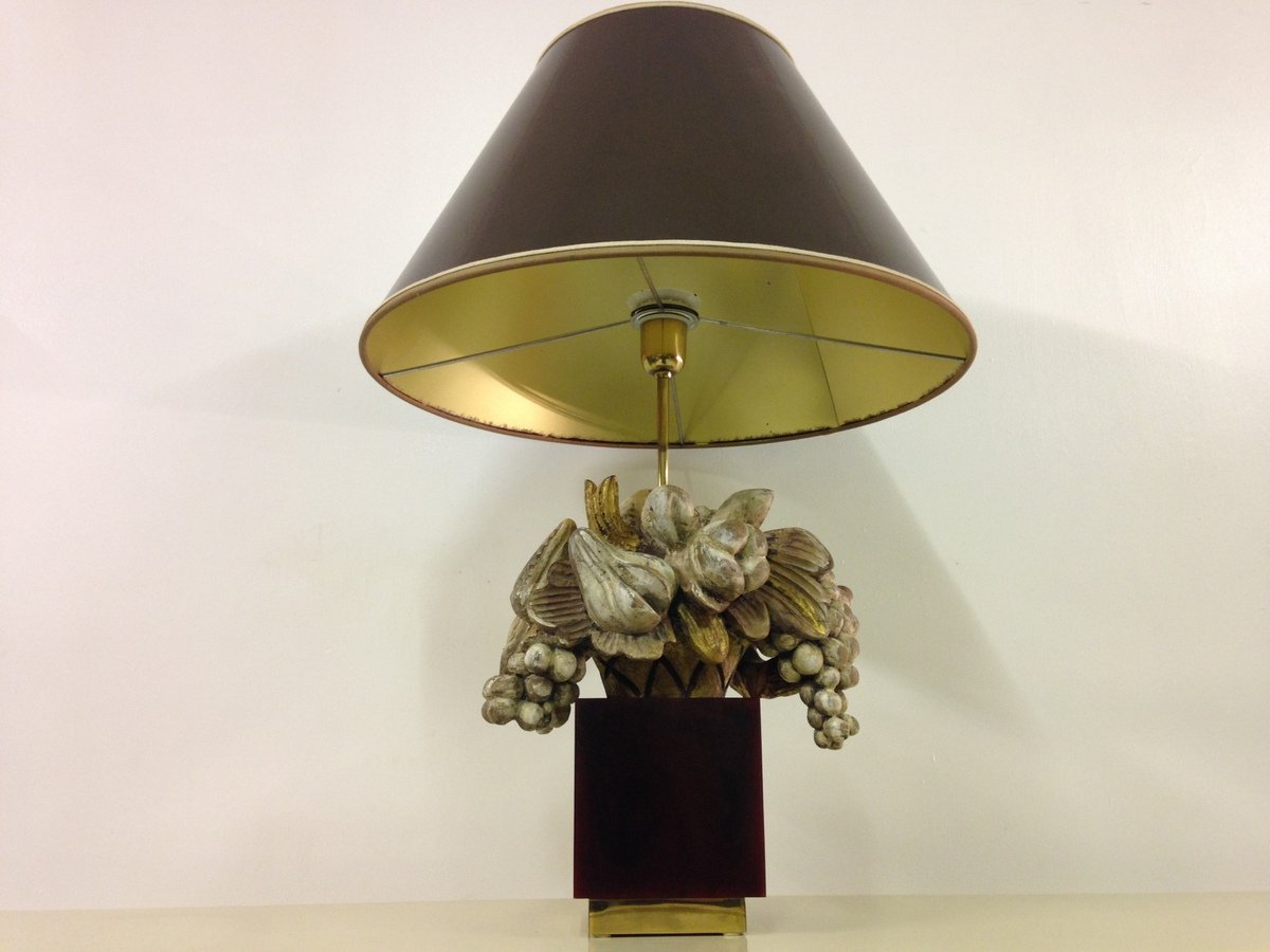 Französische Geschnitzte Holzlampe, 1970er
