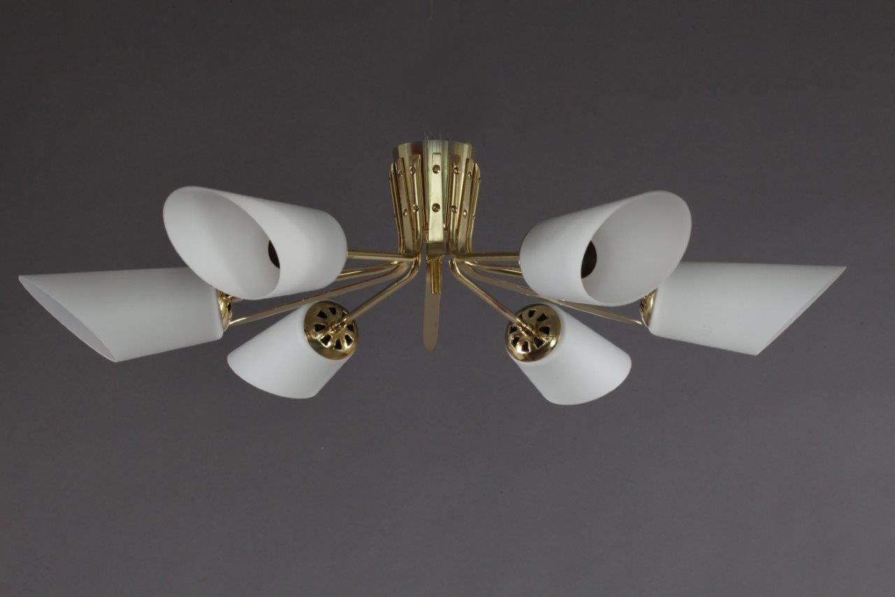 Österreichische Sputnik Deckenlampe von Rupert Nikoll, 1950er