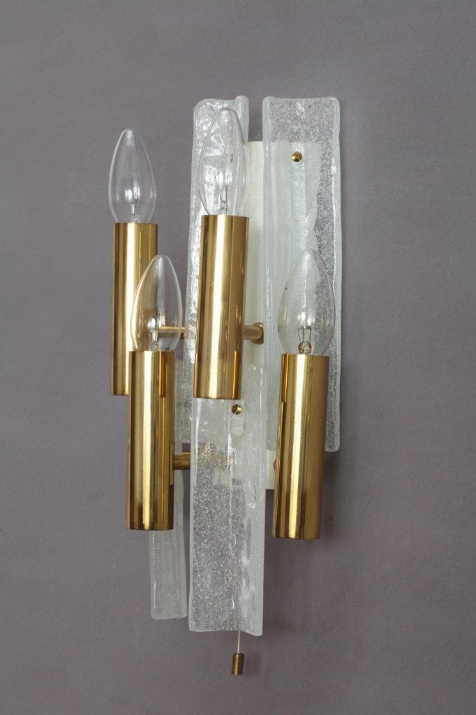 Große Eisglas Wandleuchten von J. T. Kalmar für Kalmar, 1950. 2er Set