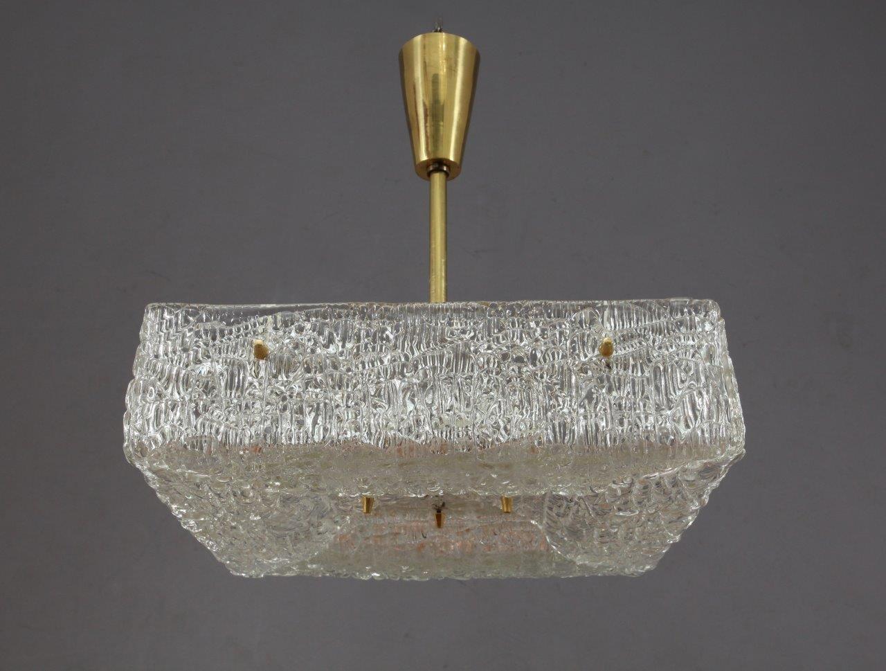 Österreichische Milchglas Deckenlampe von J.T. Kalmar für Kalmar, 1950