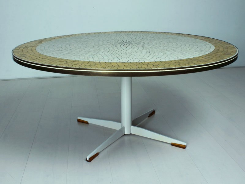 table basse vintage ronde en mosa que italie en vente sur pamono. Black Bedroom Furniture Sets. Home Design Ideas