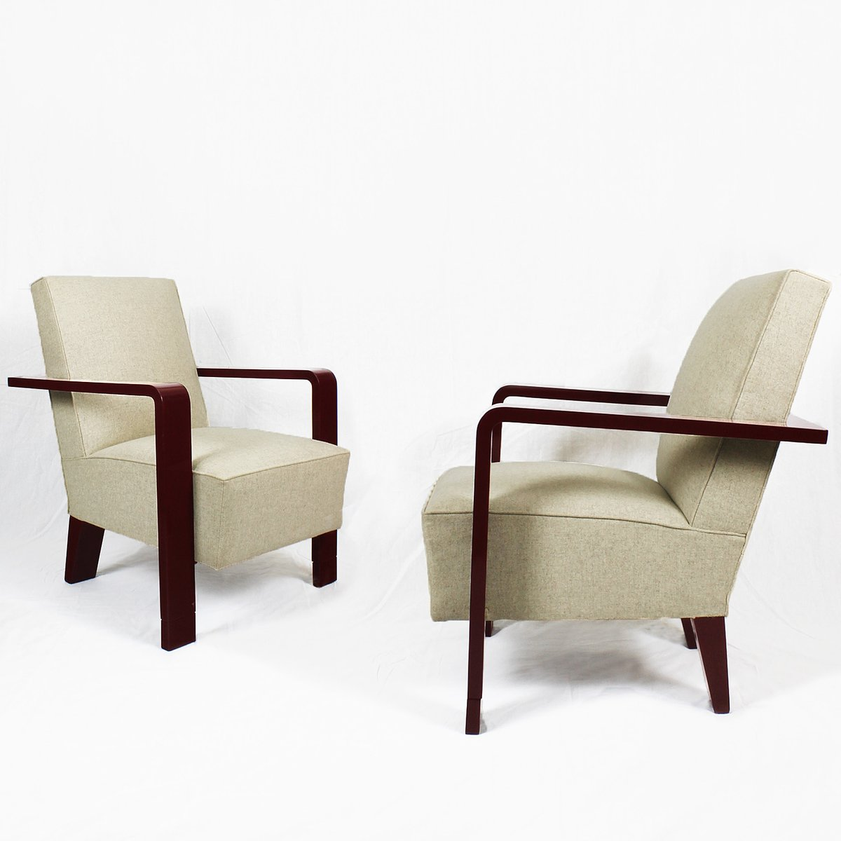 Kubistische Art Deco Sessel, 1930er, 2er Set