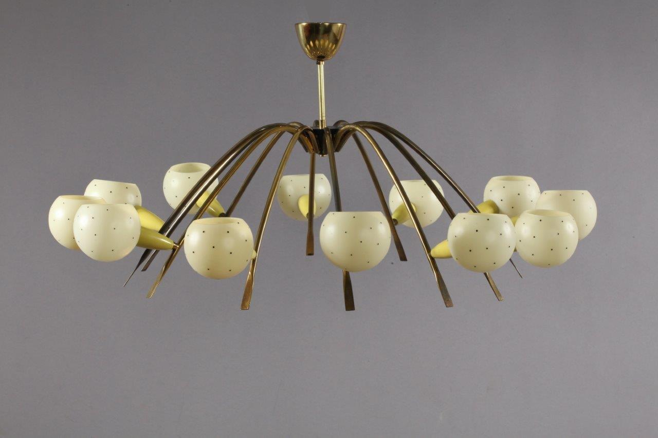 Italienische Deckenlampe mit 12 Leuchten, 1950er