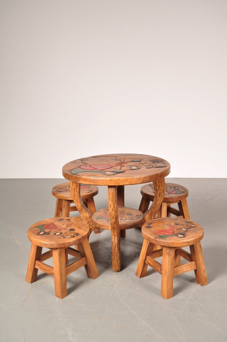 Oak Winnie The Pooh Childrenu0027s Table u0026 Stools 1950s & Oak Winnie The Pooh Childrenu0027s Table u0026 Stools 1950s for sale at Pamono