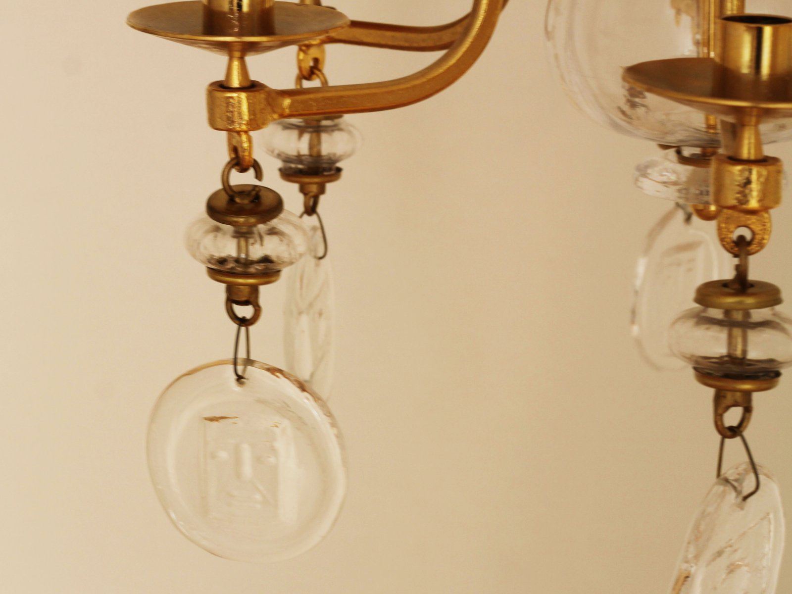 Large mid century gilded iron glass candle chandelier by erik price per piece aloadofball Images