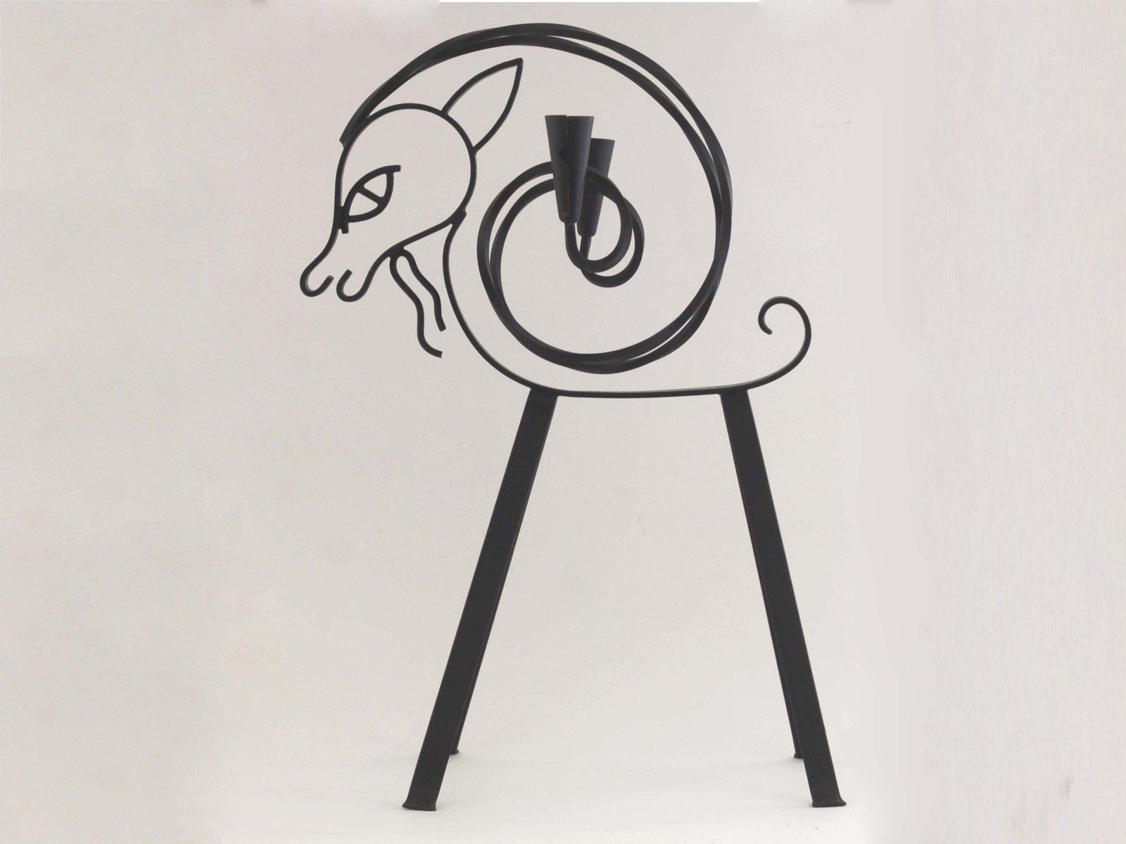 Großer Ziegen Kandelaber von Gunnar Ander für Ystad Metall, 1950er