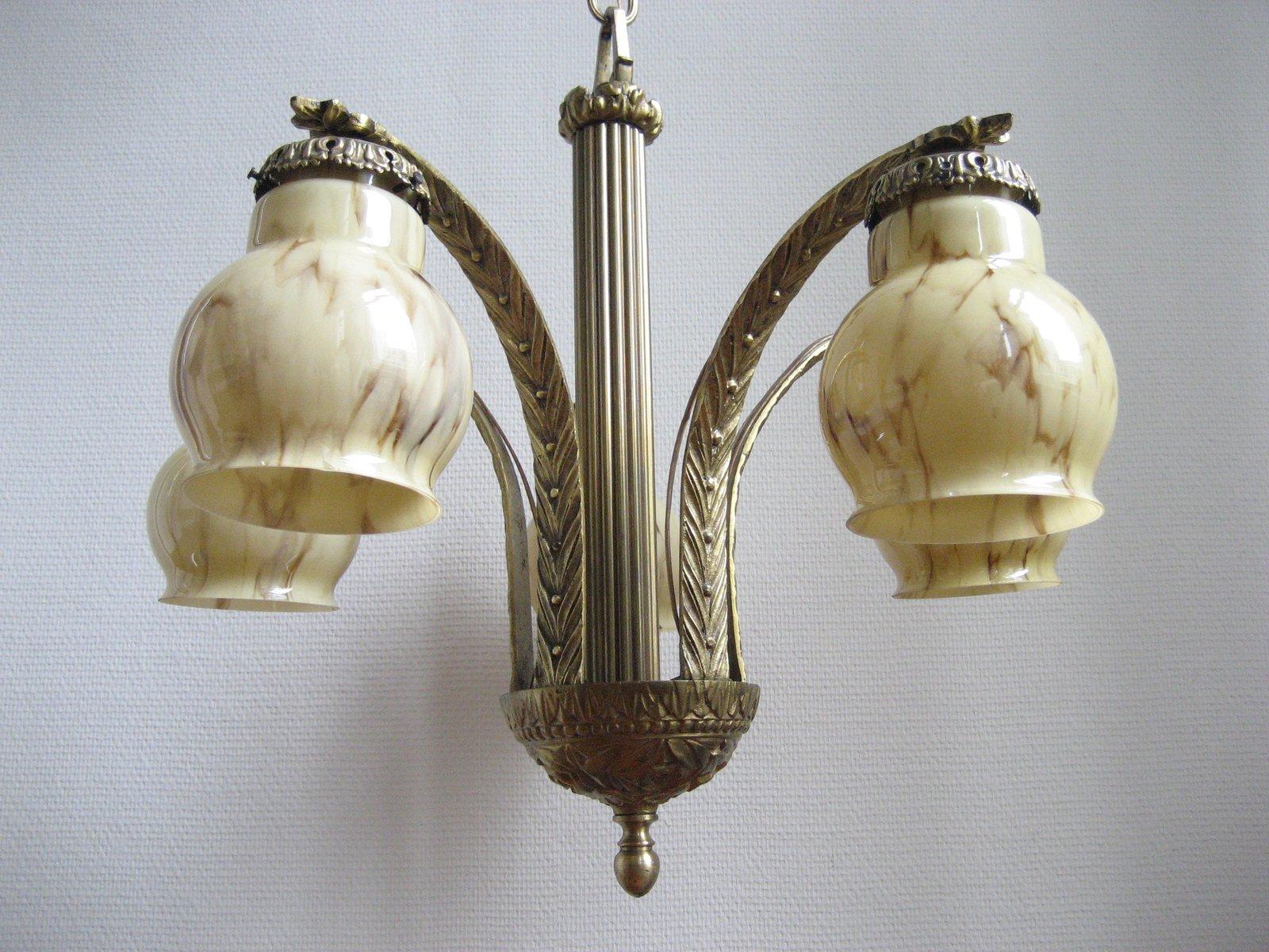 Franz sische art deco lampe mit f nf marmorlampenschirmen for Art deco lampe