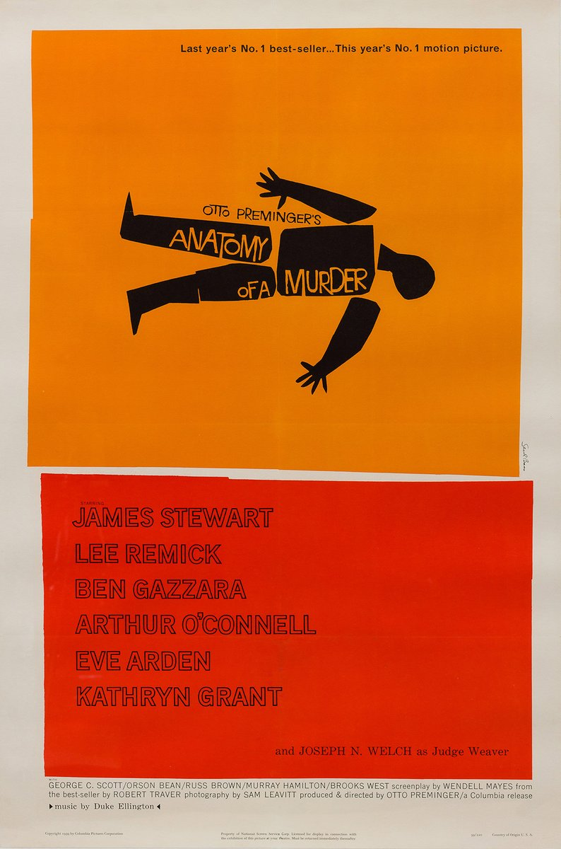 Vintage American Anatomy of a Murder Film Poster by Saul Bass, 1959 ...