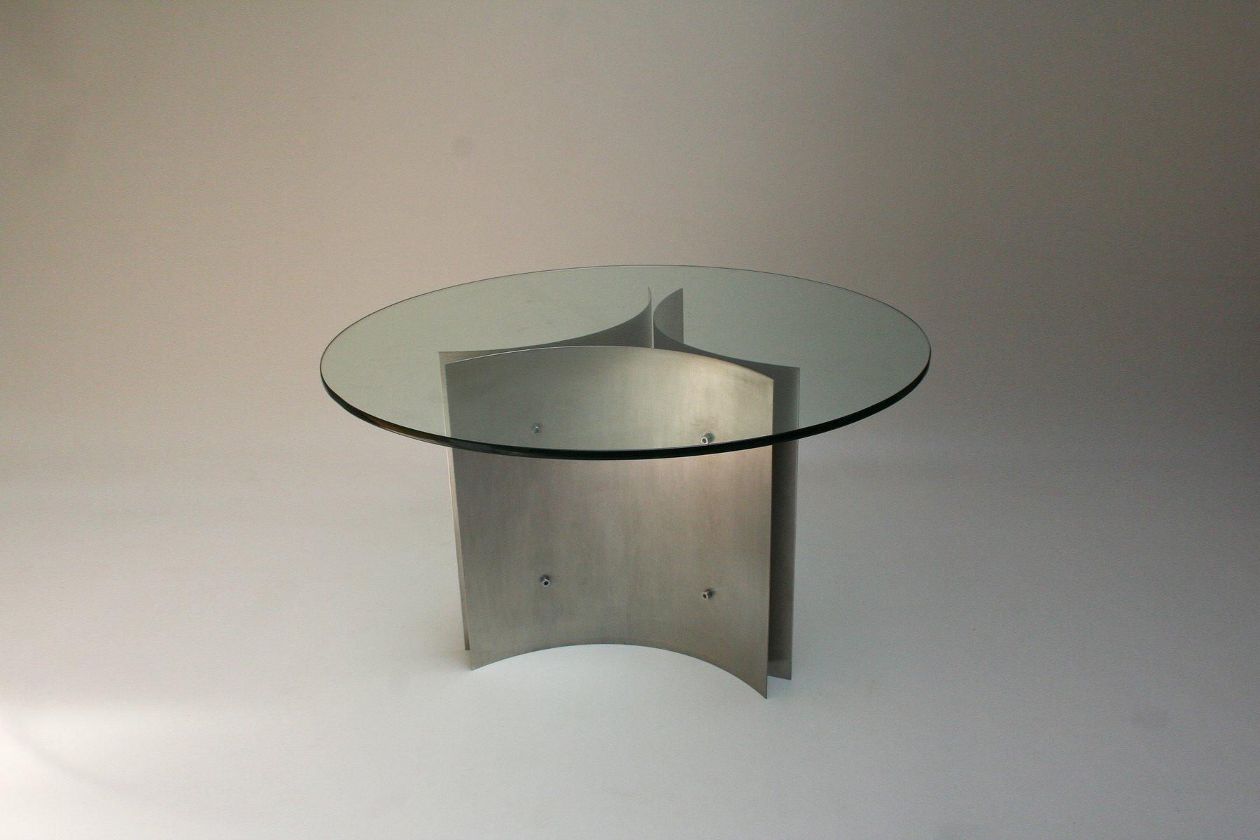 Tavolo da pranzo in vetro e acciaio, anni \'70 in vendita su Pamono