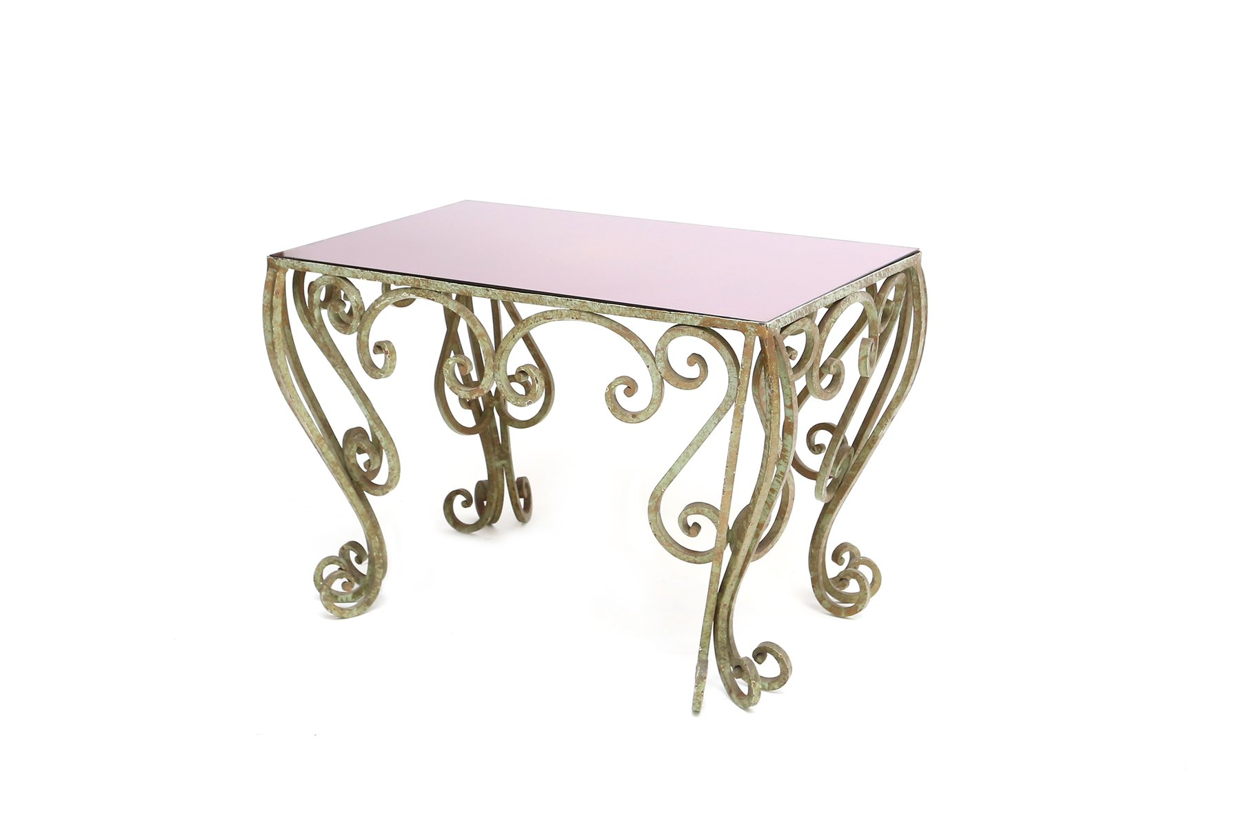 Tavolino da caffè in ferro battuto e vetro viola in vendita su Pamono