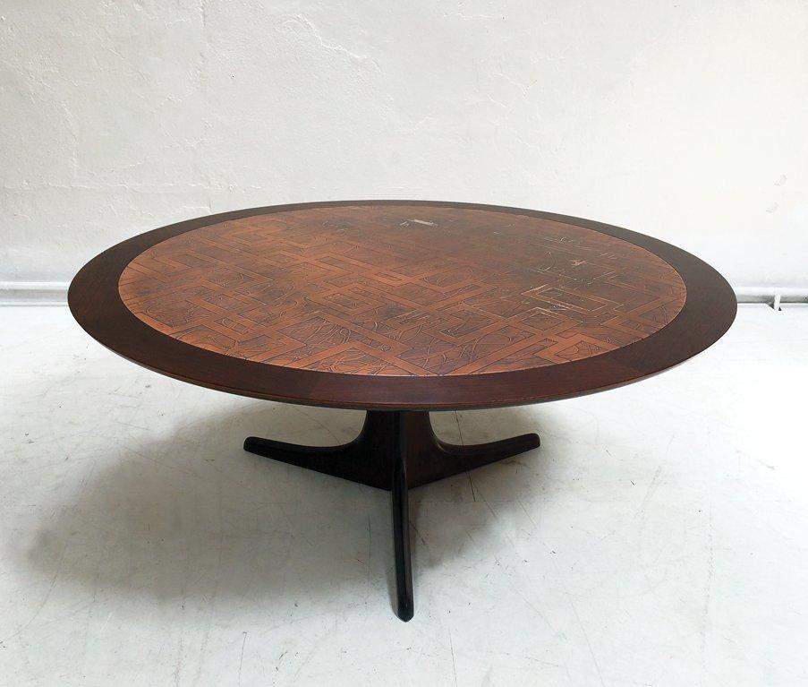 table basse en palissandre et en cuivre 1960s en vente sur pamono. Black Bedroom Furniture Sets. Home Design Ideas