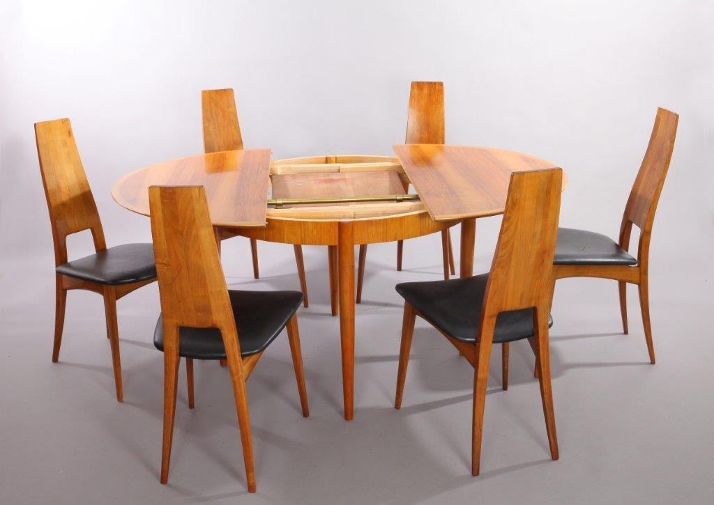 Table de salle manger extensible en m risier avec 6 - Table de salle a manger avec chaises ...