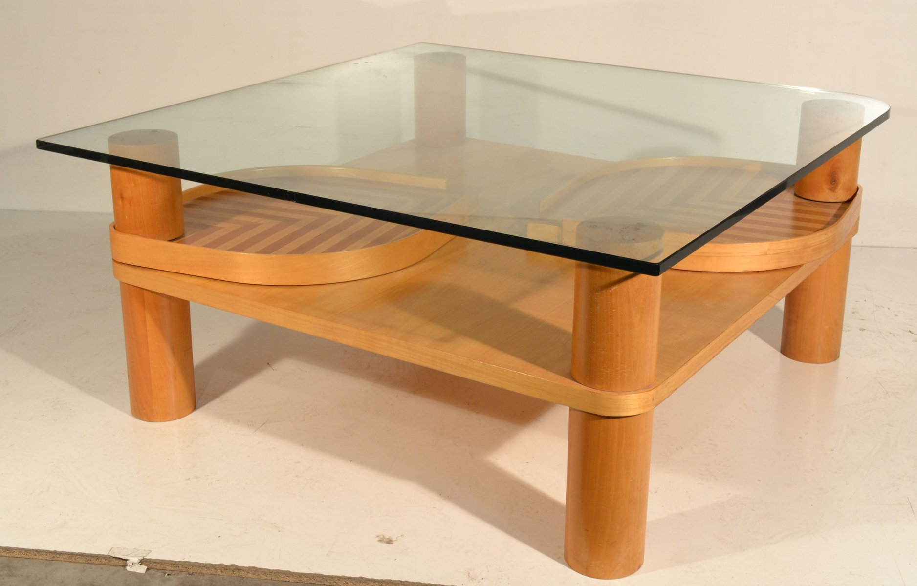 Italian Maple And Glass Coffee Table For Sale At Pamono - Maple and glass coffee table
