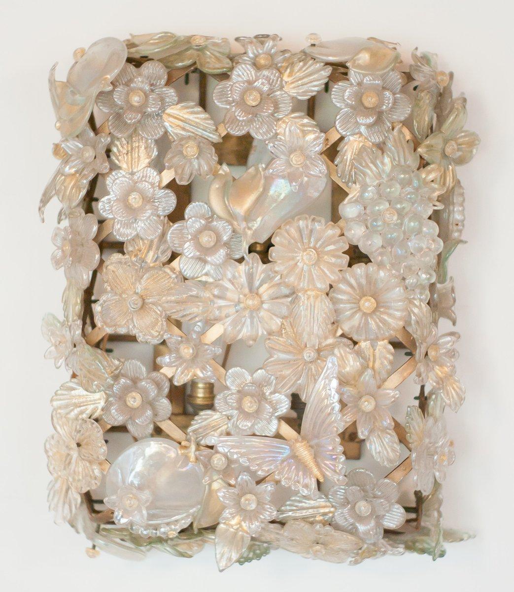 Große Murano Glas Wandleuchte von Barovier & Toso, 1940er