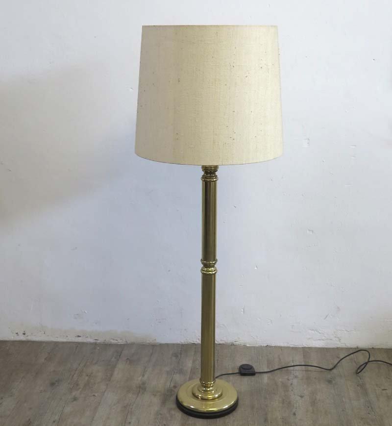 Messing Stehlampe mit Lampenschirm aus Stoff, 1960er