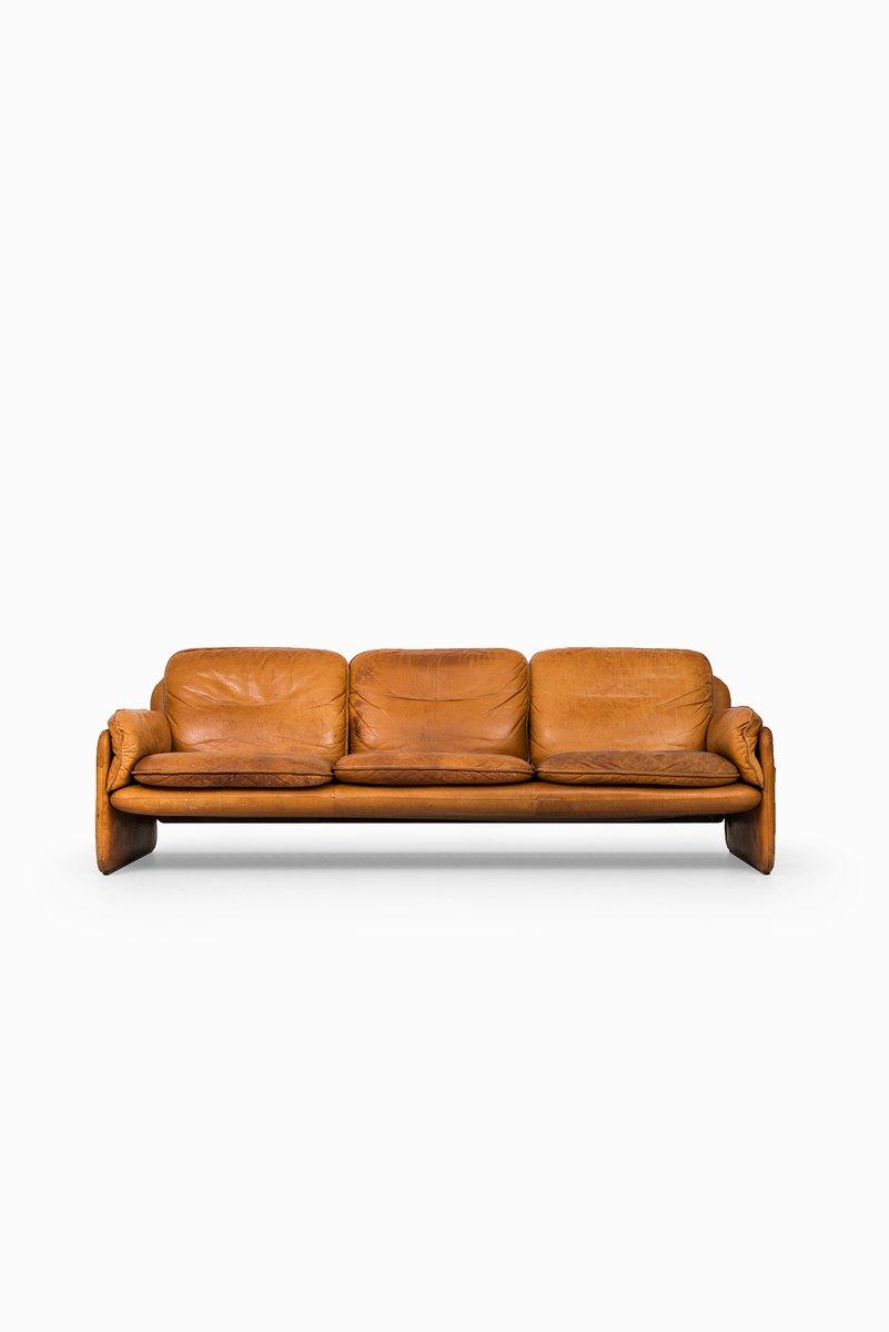 canap trois places marron en cuir de de sede 1950s en vente sur pamono. Black Bedroom Furniture Sets. Home Design Ideas