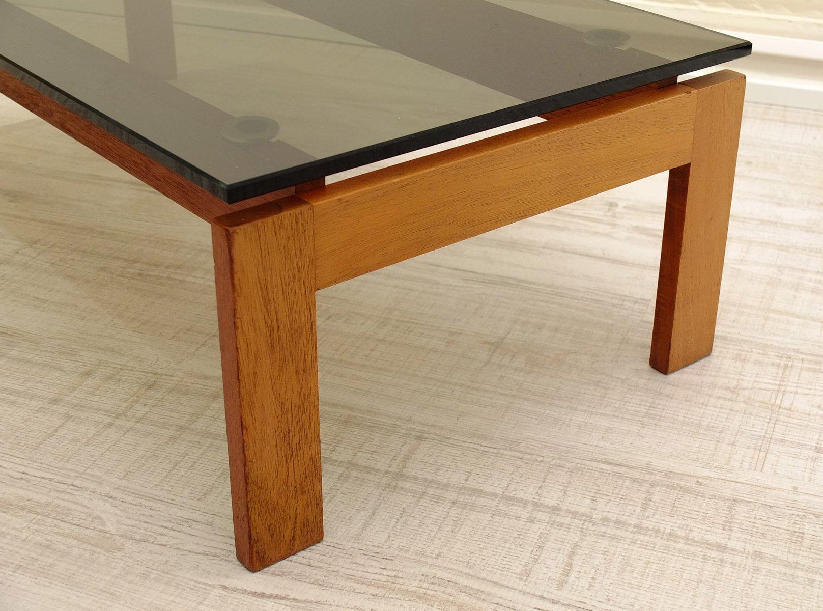 table d 39 appoint en teck et en verre fum danemark 1970s en vente sur pamono. Black Bedroom Furniture Sets. Home Design Ideas