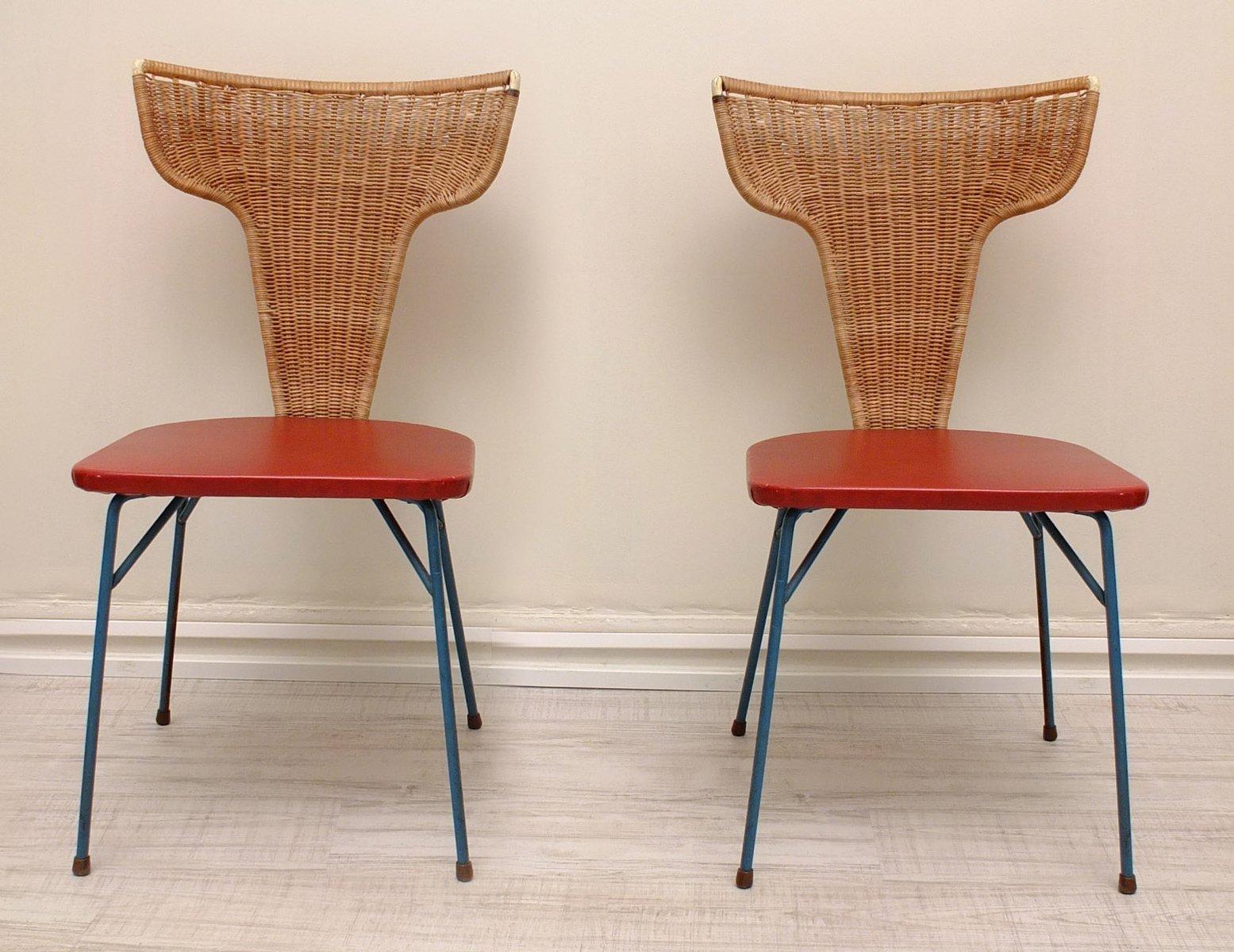 italienische st hle aus eisen rattan 1950er 2er set bei pamono kaufen. Black Bedroom Furniture Sets. Home Design Ideas