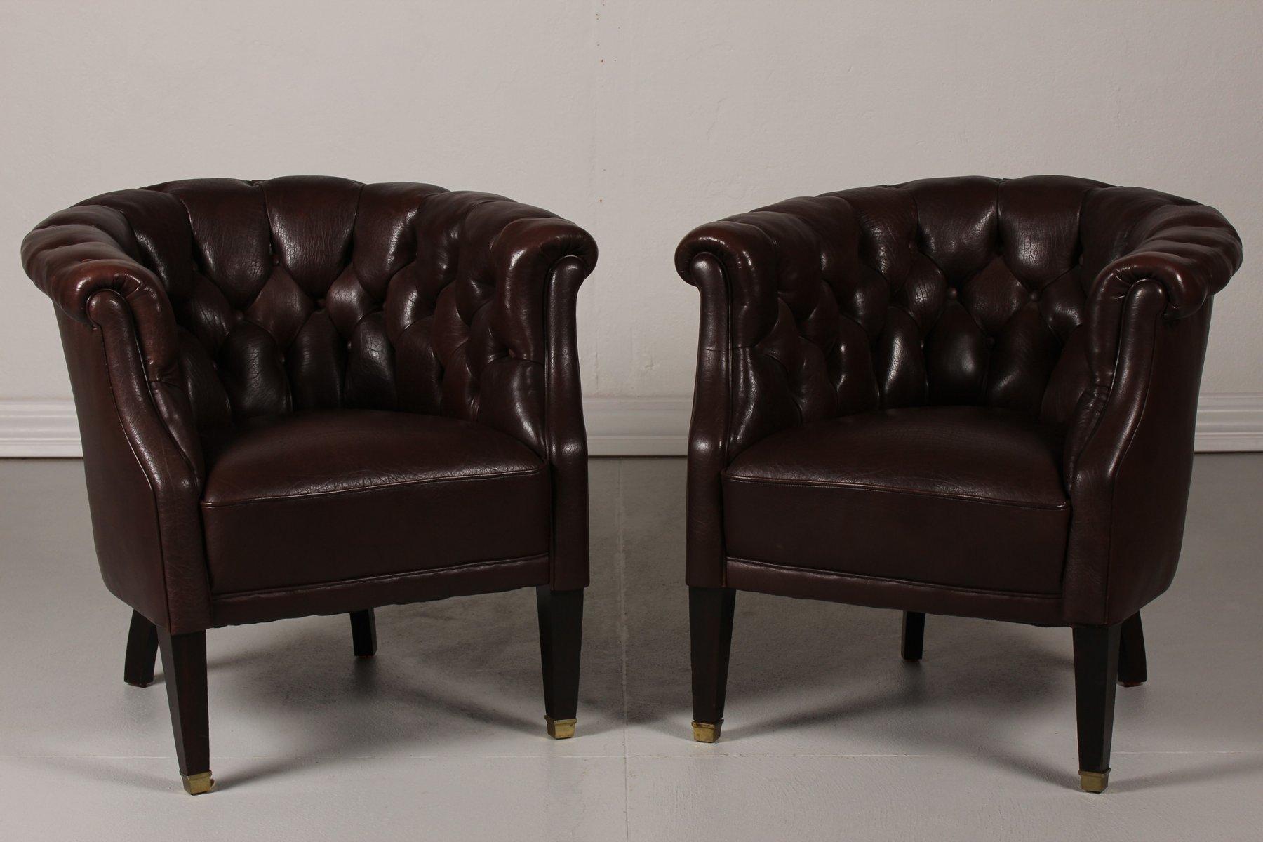 Dänische Sessel aus dunkelbraunem Leder im Chesterfield Stil, 1920er, ...