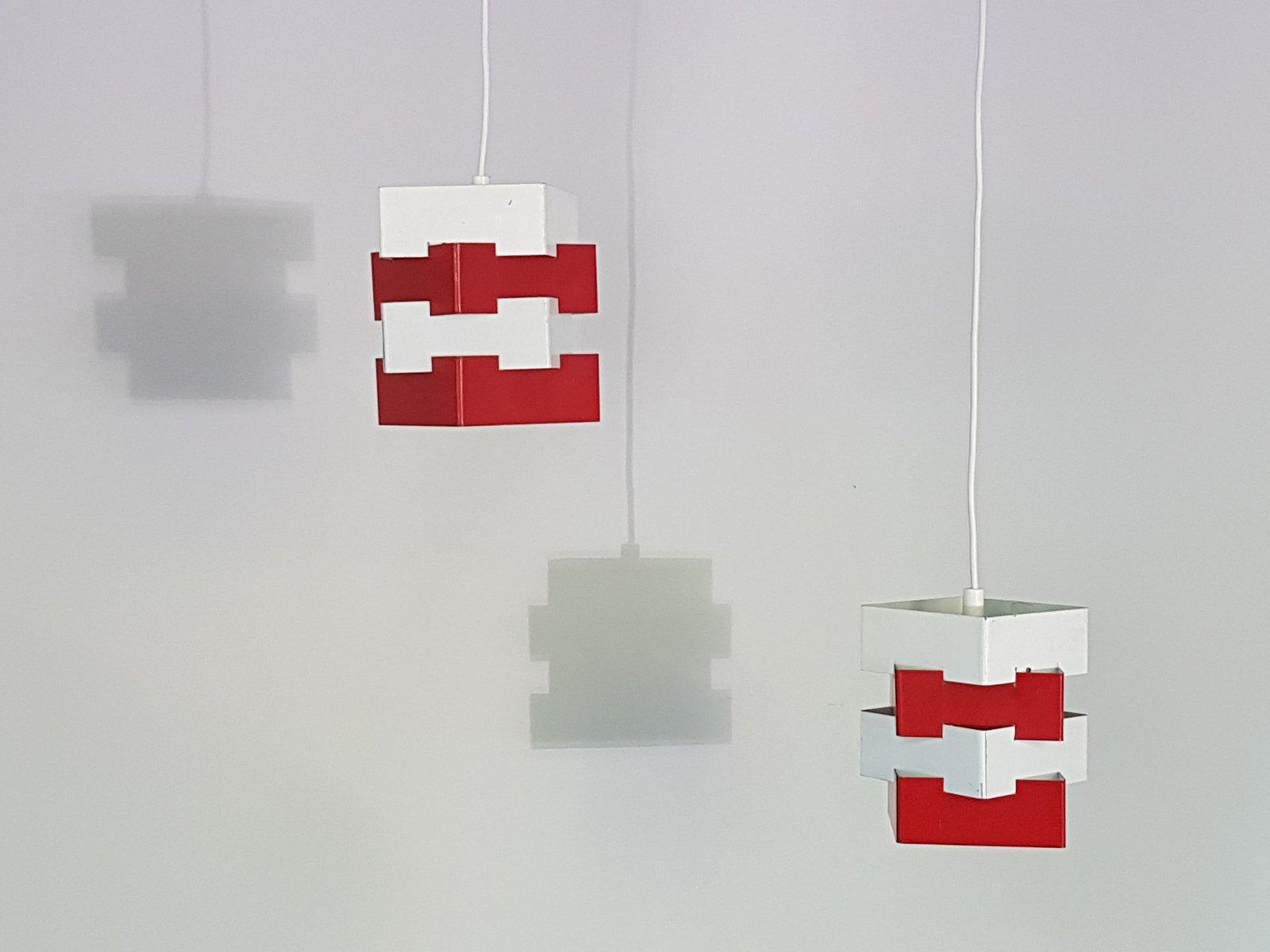 Schwedische Metall Hängelampen in Weiß & Rot von Kronobergs Belysning,...