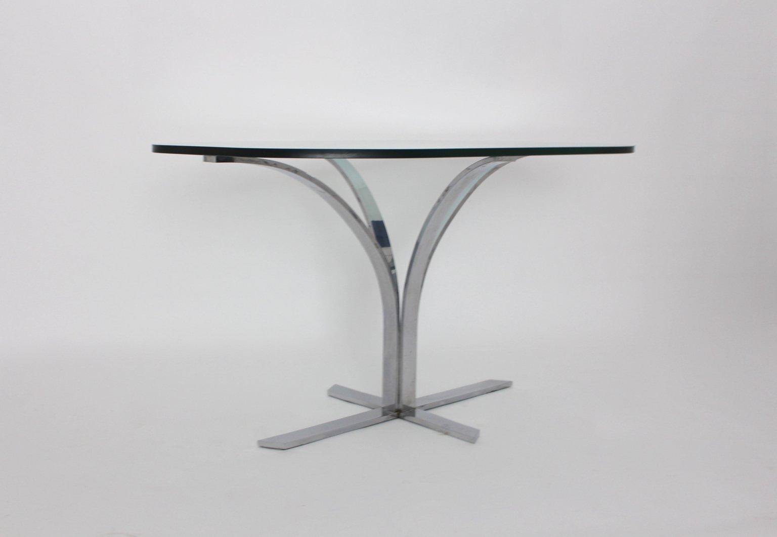 deutscher glas chrom esstisch 1960er bei pamono kaufen. Black Bedroom Furniture Sets. Home Design Ideas