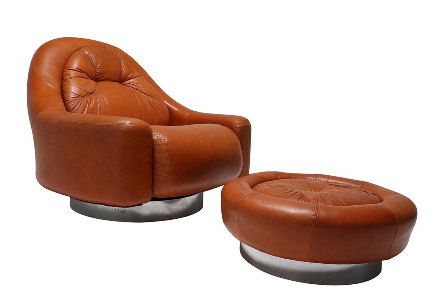 Vintage Sessel mit Ottoman von Guido Faleschini für Mariani