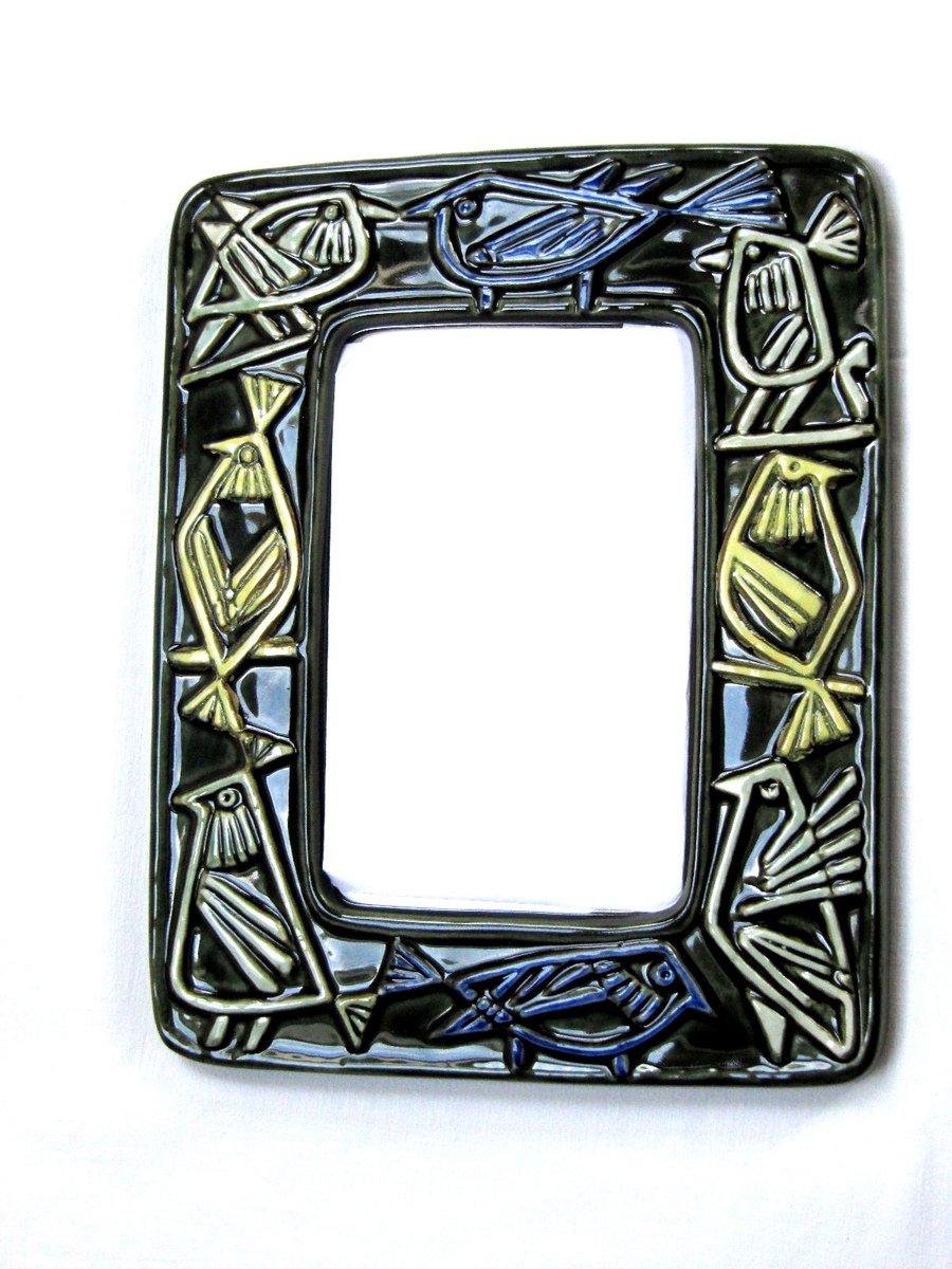 Schwedischer Spiegel mit Keramikrahmen von Lisa Larson für ...
