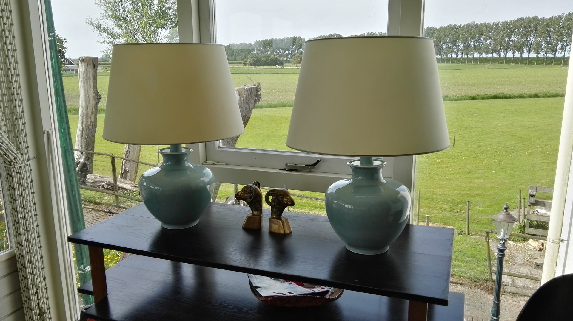Seladongrüne Keramik Tischlampen von Cardinal, 1950er 2er Set