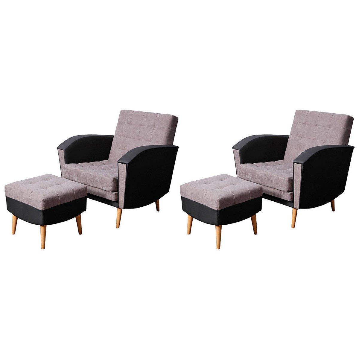 Deutsche Sessel und Hocker, 1960er, 4er Set