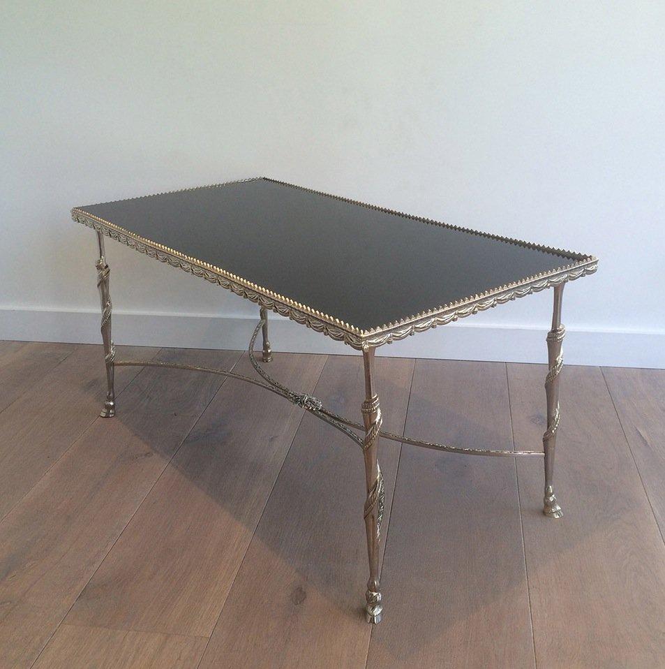 table basse vintage avec dessus noir en verre et pieds en forme de sabot 1940s en vente sur pamono. Black Bedroom Furniture Sets. Home Design Ideas