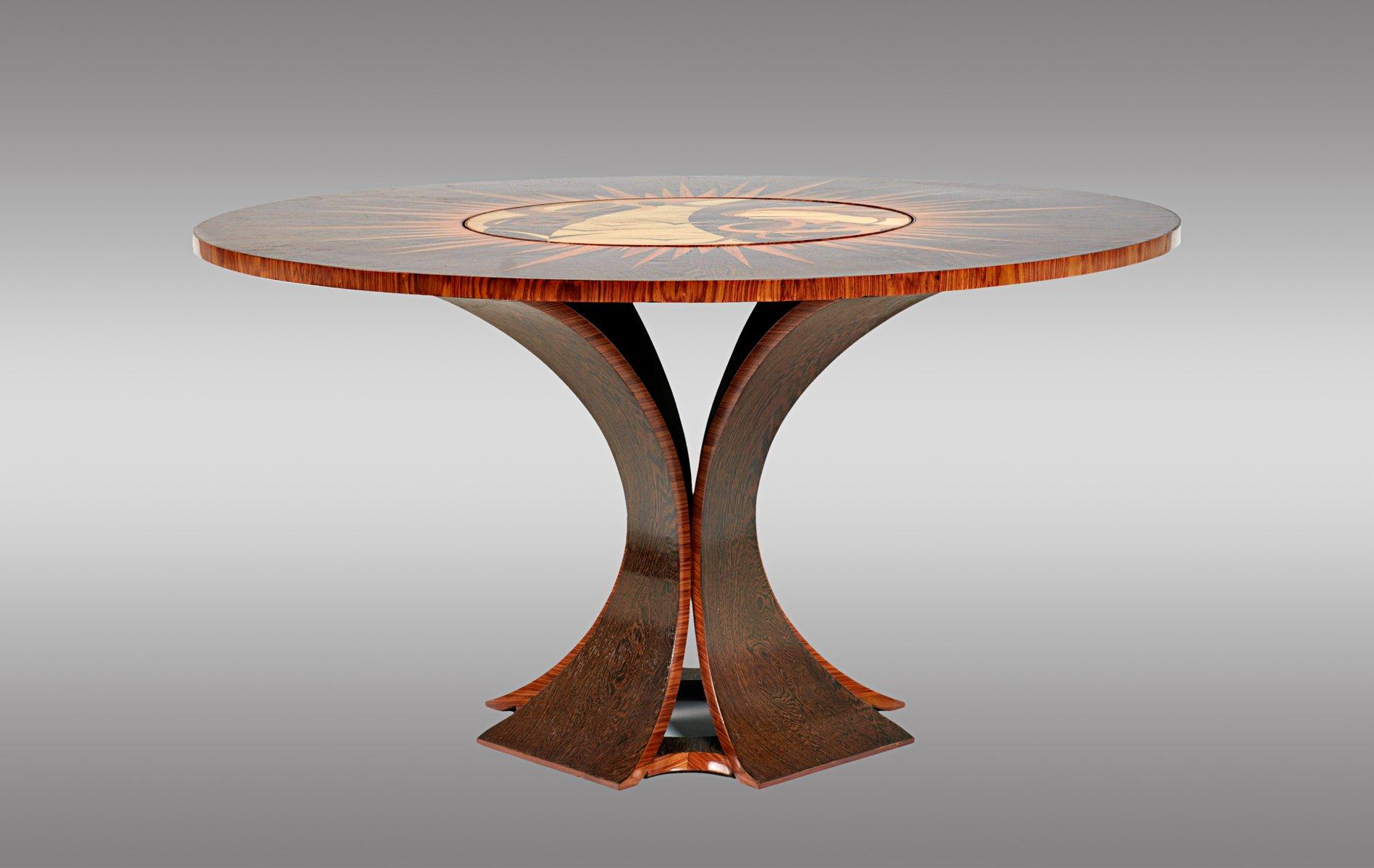 Palmenholz & Palisander Tisch mit Drehbarer Mitte, 1970