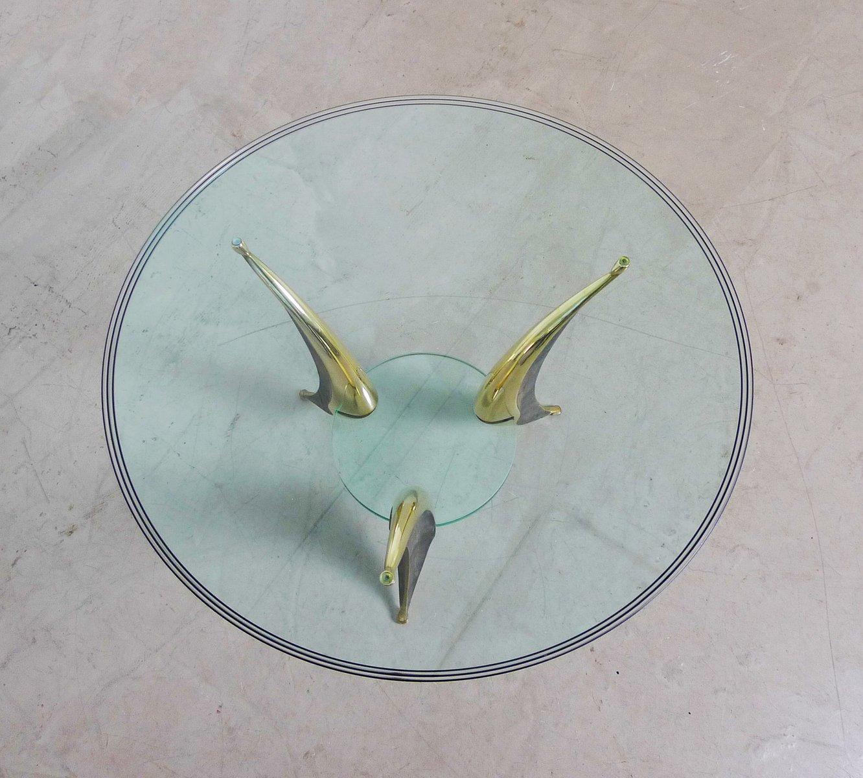 italienischer skulpturaler couchtisch aus glas messing. Black Bedroom Furniture Sets. Home Design Ideas